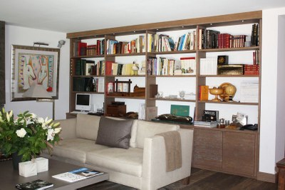 bibliothèque bois en chêne brossé teinté blanchi