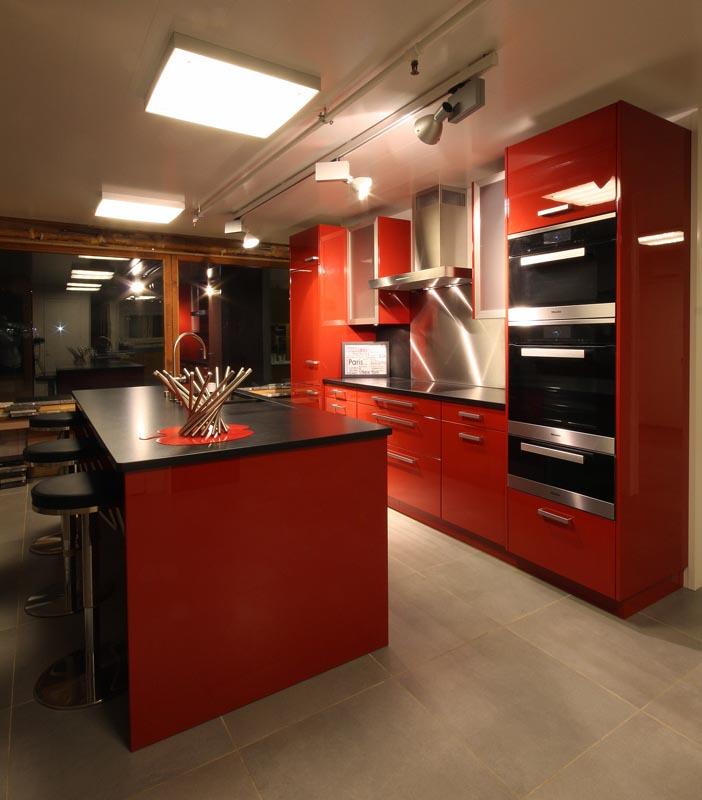 Cuisine Rouge Brillant agencement de cuisine rouge brillant