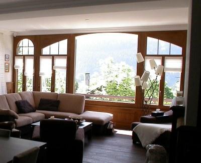 Fenêtre bois en sapin teinté