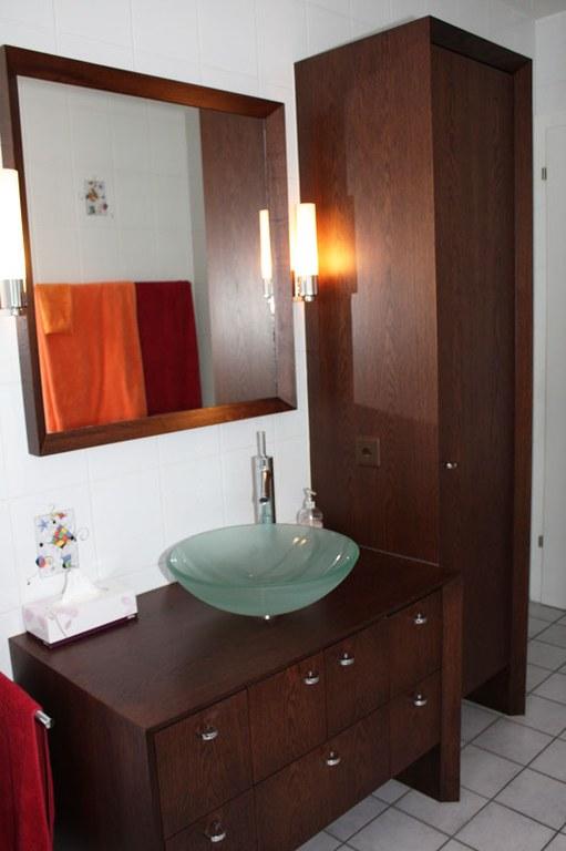 Meuble salle de bain en chêne brossé